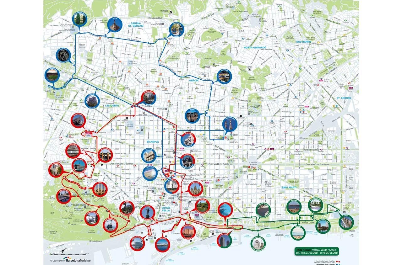 Barcelona City Tour Bus Route Map
