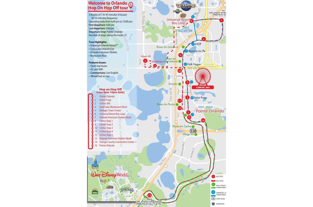 HopOn HopOff Bus Tour Orlando City Sightseeing - Orange county convention center map